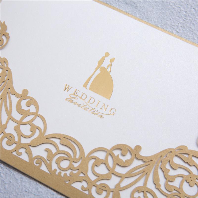 moderne einsteckkarte zur hochzeit golden mit elegantem laserdruck, Einladungsentwurf