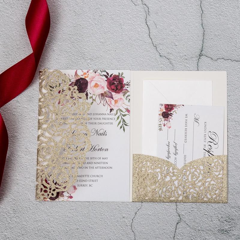 Glitter Papier Lasercut Einladungen Hochzeit WPFC2122G