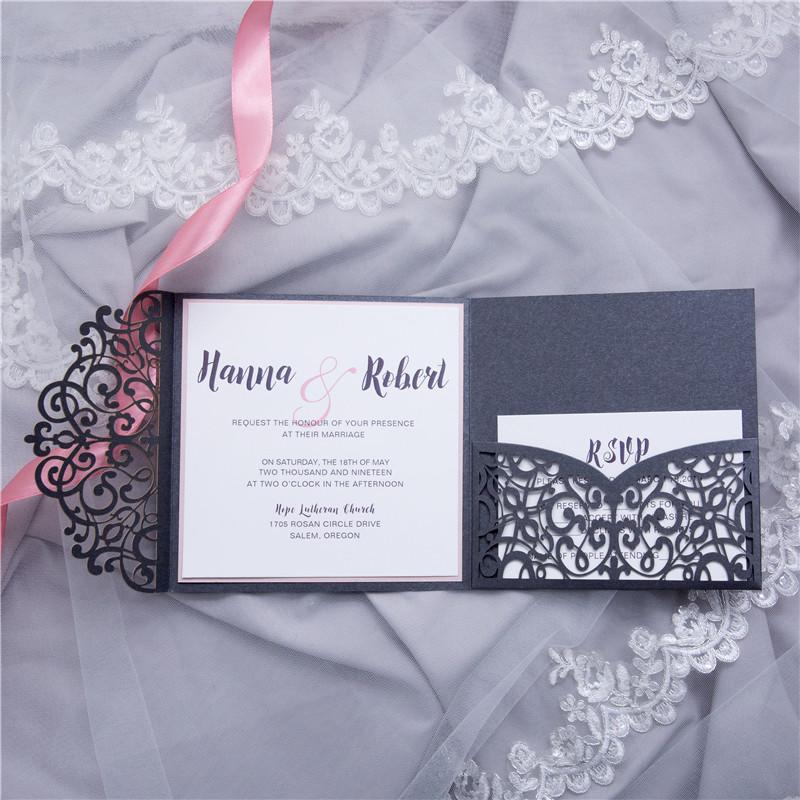 Bien-aimé Lasercut Pocket Fold Einladungen zur Hochzeit WPFC2125 [WPFC2125  MA76