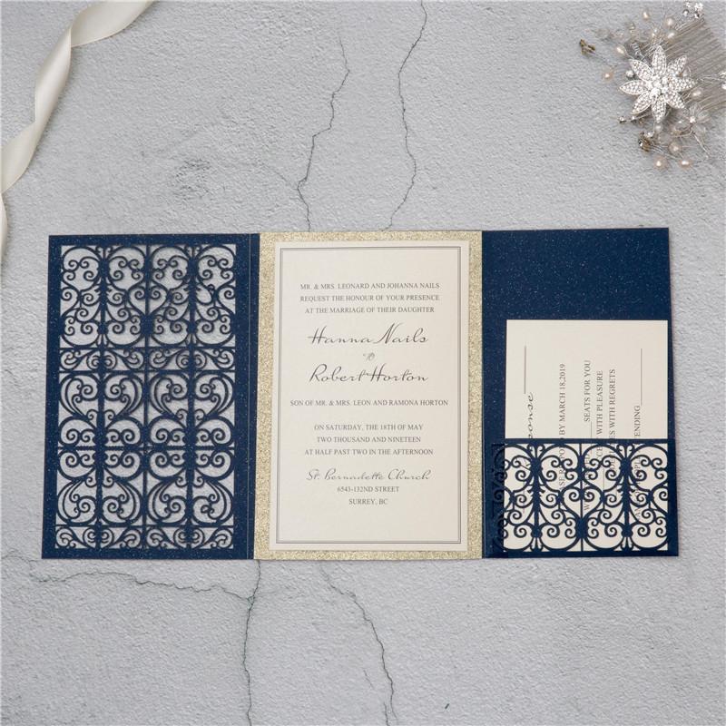 Lasercut Pocket Fold Einladungen Zur Hochzeit WPFC2127