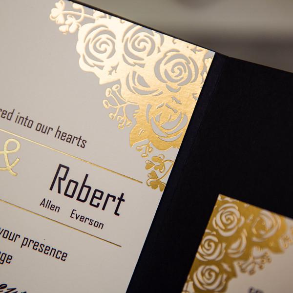 Schwarz U0026 Gold Pocket Folien Einladungskarten Hochzeit WPI2100