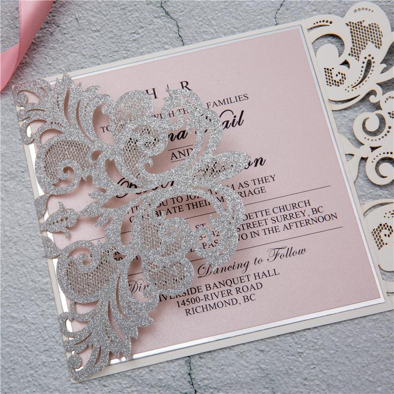 Glitter Papier Lasercut Einladungen Hochzeit WPL0002G