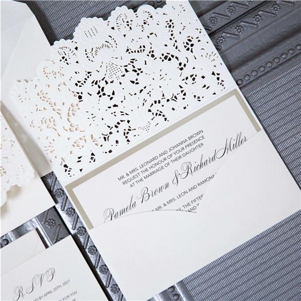 Edle Pocket Perlmutt Einladung Zur Hochzeit Mit Spitze WPL0010
