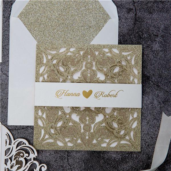 Glitter Papier Lasercut Einladungen Hochzeit WPL0019G