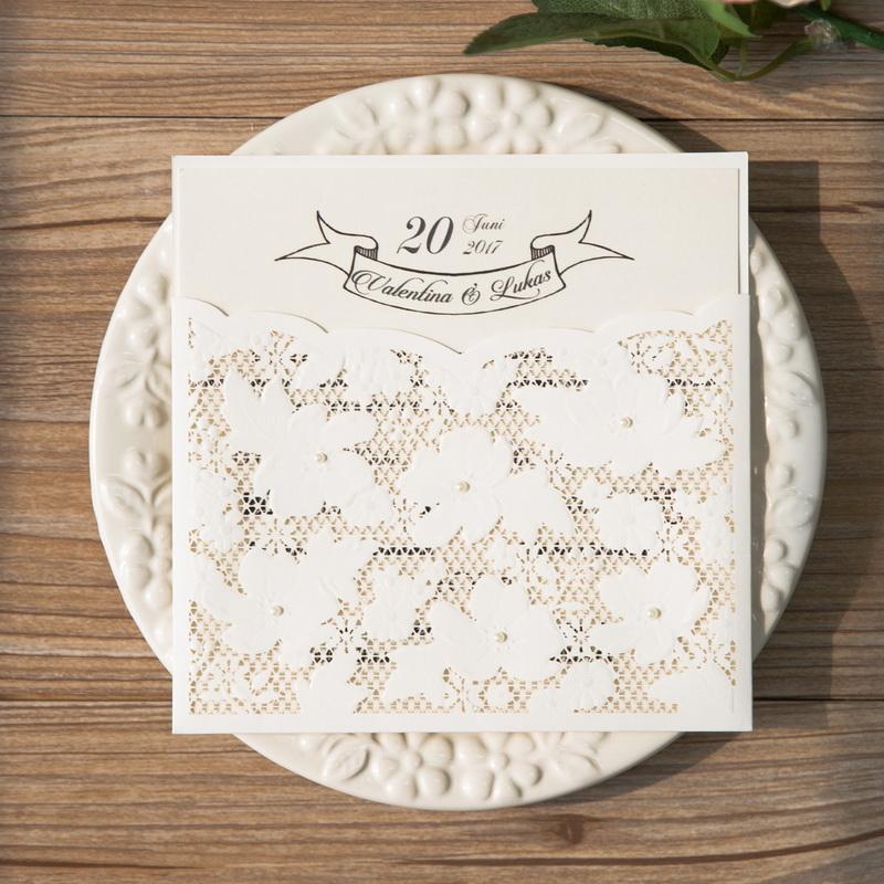 Romantische Spitze Hochzeitseinladungen Laserschnitt Einsteckkarte