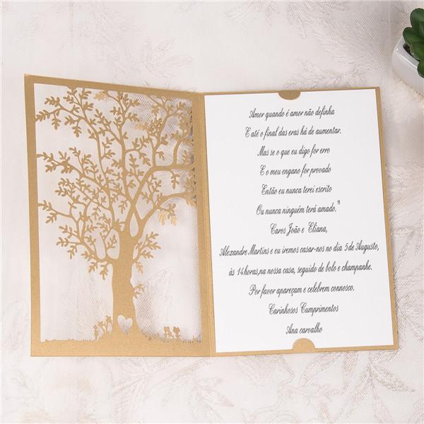 Baum Laserschnitt Hochzeitskarte Klappkarte In Braun