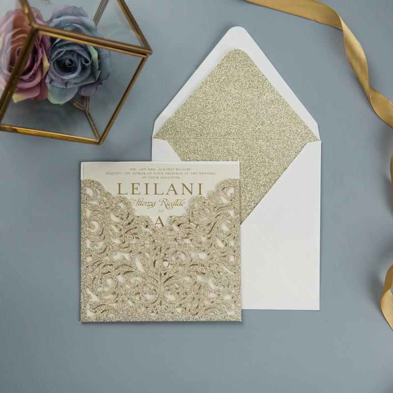 Glitter Papier Lasercut Einladungen Hochzeit WPL0070G