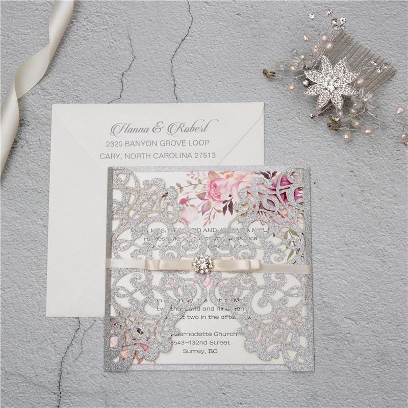 Glitter Papier Lasercut Einladungen Hochzeit WPL0135G