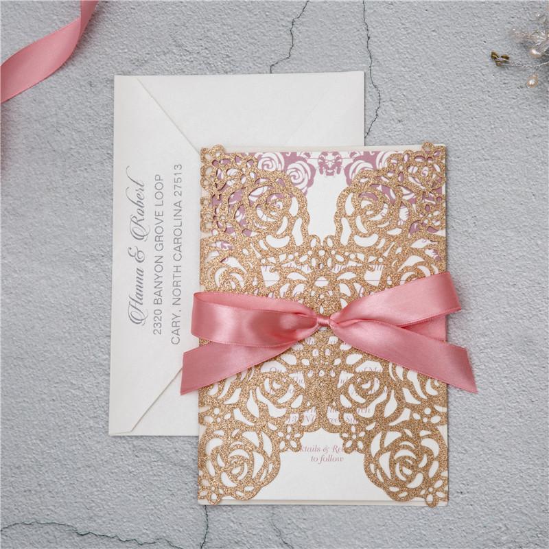 Glitter Papier Lasercut Einladungen Hochzeit WPL0140G