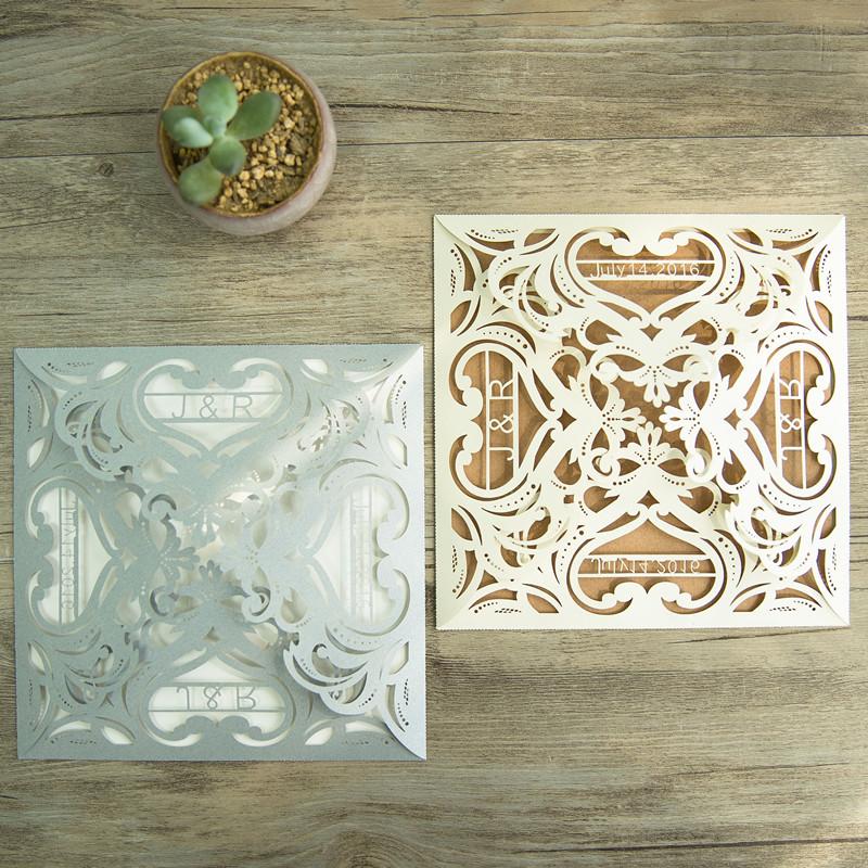 Klassische Quadratische Laserdruck Hochzeitskarte Mit Namen Wpl0144