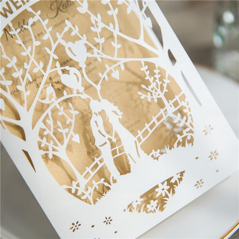 Lasercut Baum Brautpaar Hochzeitskarte Mit Namen Wpl0153 Wpl0153