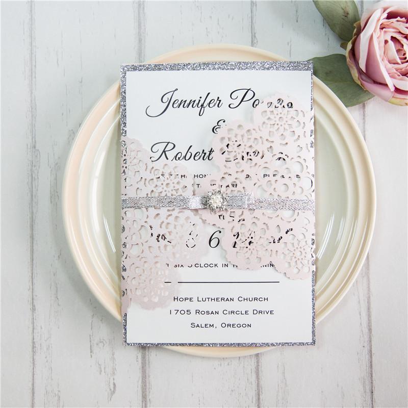 Lasercut Hochzeit Blumen Einladungen WPL0163