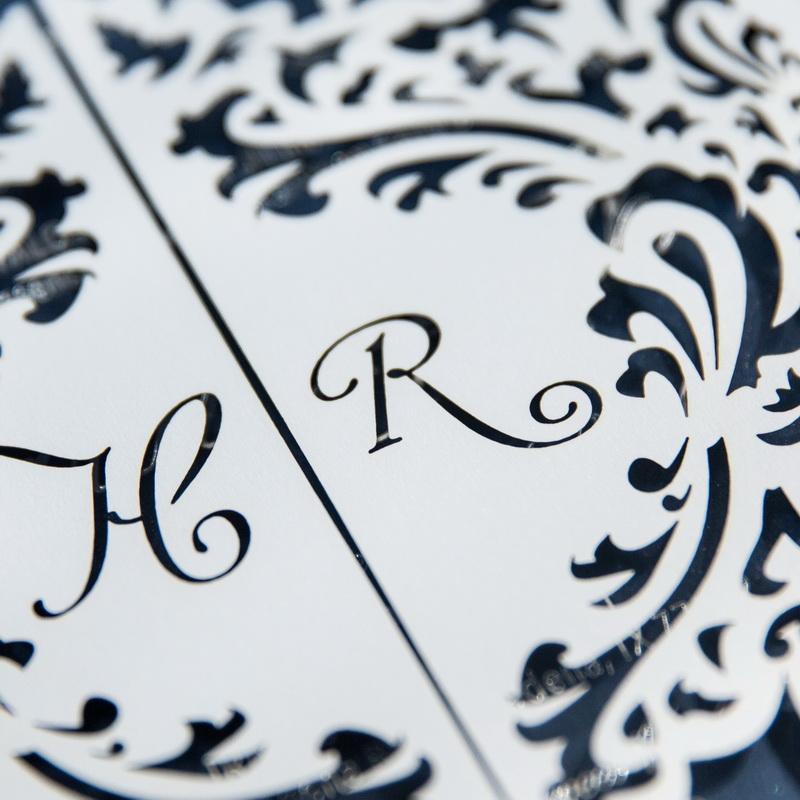 Quadratische Lasercut Hochzeitskarte Mit Namen Wpl0170 Wpl0170
