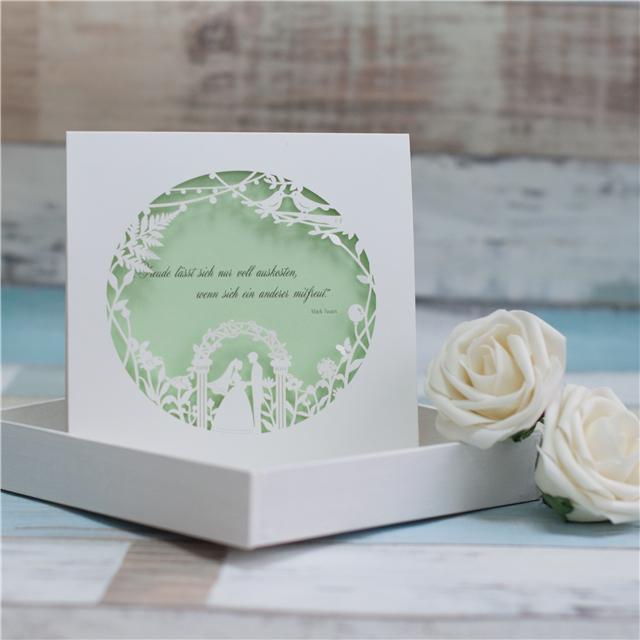 Romantische Brautpaar Hochzeit Einladungskarte Mit Laserdruck In Weiss  WPL0009