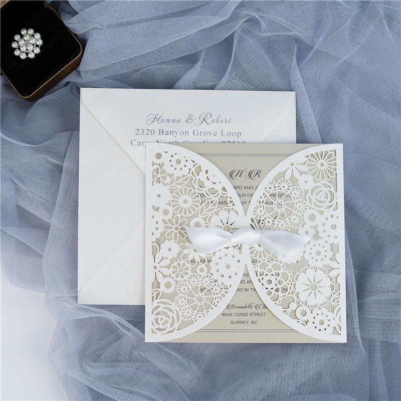 Romantische Laserschnitt Elfenbeinerne Hochzeitskarten Mit Baendchen WPL0001
