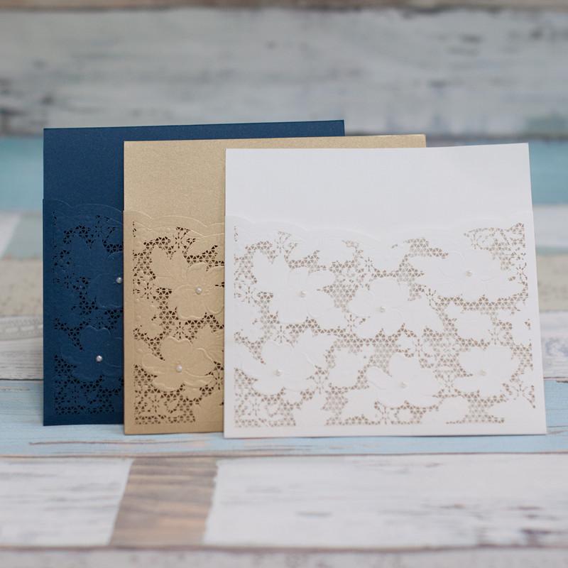 romantische Spitze Hochzeitseinladungen Laserschnitt Einsteckkarte mit ...