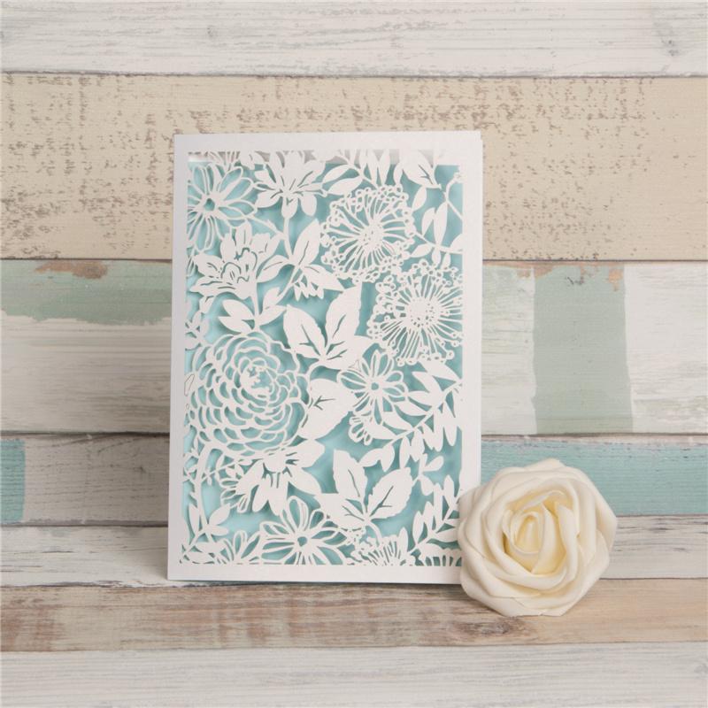 Silberne Metallic Florale Einladungskarte Zur Hochzeit Mit Laserschnitt  WPL0030