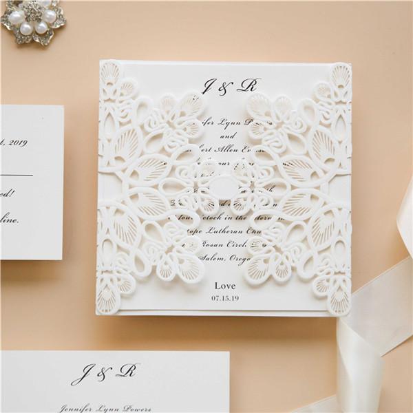 Weisse klassische laserschnitt spitze hochzeitseinladungen - Hochzeitseinladungen mit spitze ...